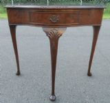 Burr Walnut Shaped Front Side Table